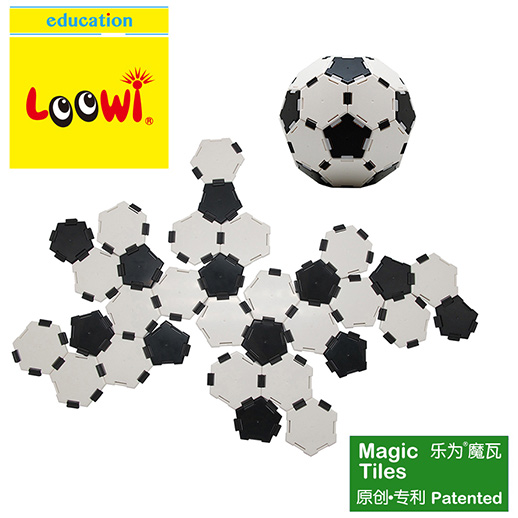 Loowi Magic Tiles in Loowi Football, To construct a football by youself. Football has 12 regular pentagons + 20 regular hexagons + 90 edges with 60 vertexs. The structure of football is footballene C60 structure.